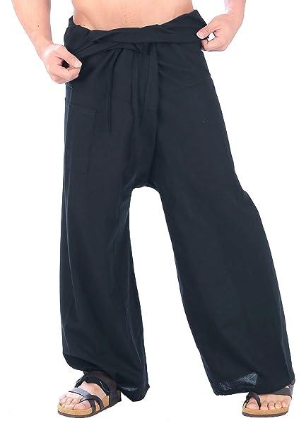 d2058318161a CandyHusky Cotton Men Women Fisherman Pants Summer Tai Chi Hippie Yoga Pants  (Black)