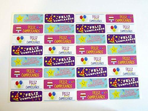 Pack de 32 Feliz Cumpleanos Española Felicitación de Cumpleaños Adhesivos, de Colores Autoadhesivo Etiquetas para Tarjetas,Sobres,Manualidades,Decoración: Amazon.es: Oficina y papelería