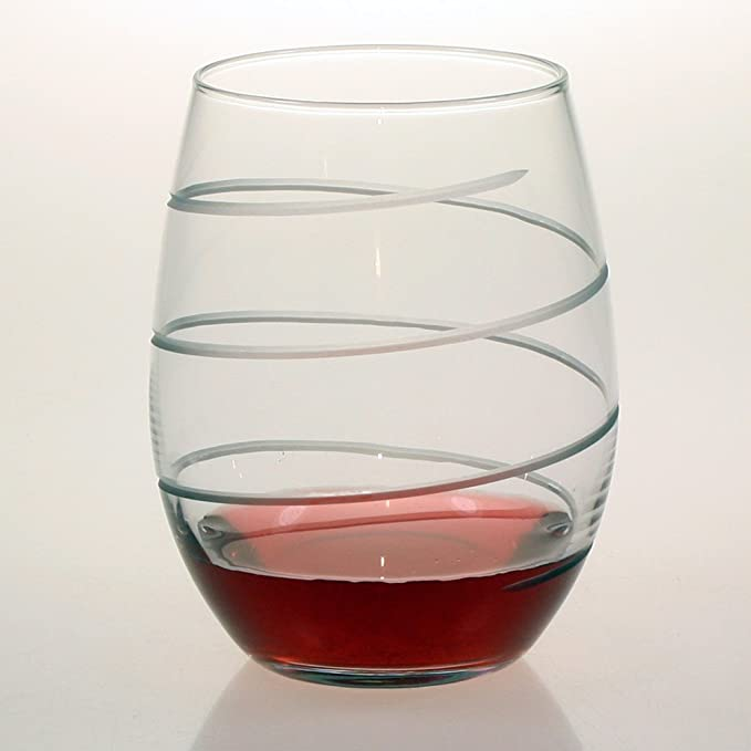 dd048113565 Susquehanna Glass Spiral Stemless Wine Glasses, Set of 4