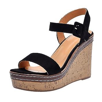 6c7694a6e43 SANDALIAS de cuña de Verano - Zapatos de Plataforma Abierta Impermeables Negros  Zapatos de Mujer más Populares de Tacones Altos (Color   Black