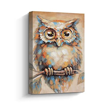 Framed Wall Art Hand Painted Abstract Quirky Owl Painting Large Contemporary Canvas Art Picture For Living Room Wall Decor