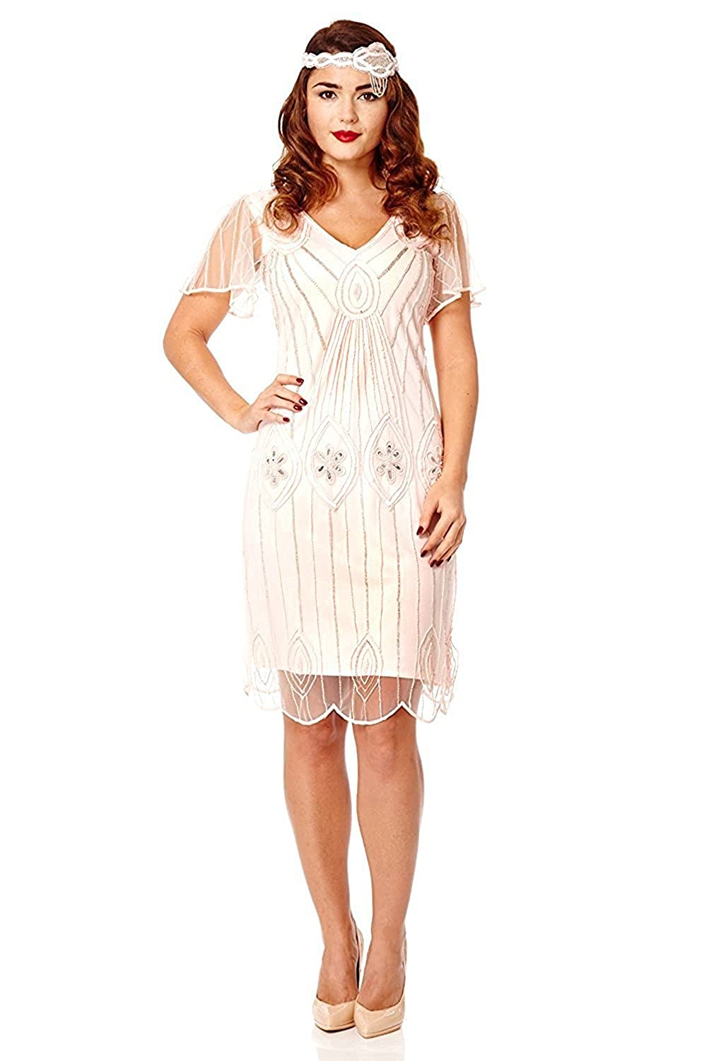 1920s Style Dresses, Flapper Dresses Art Deco Vintage Inspired Flapper Dress in Pink Blush £49.00 AT vintagedancer.com