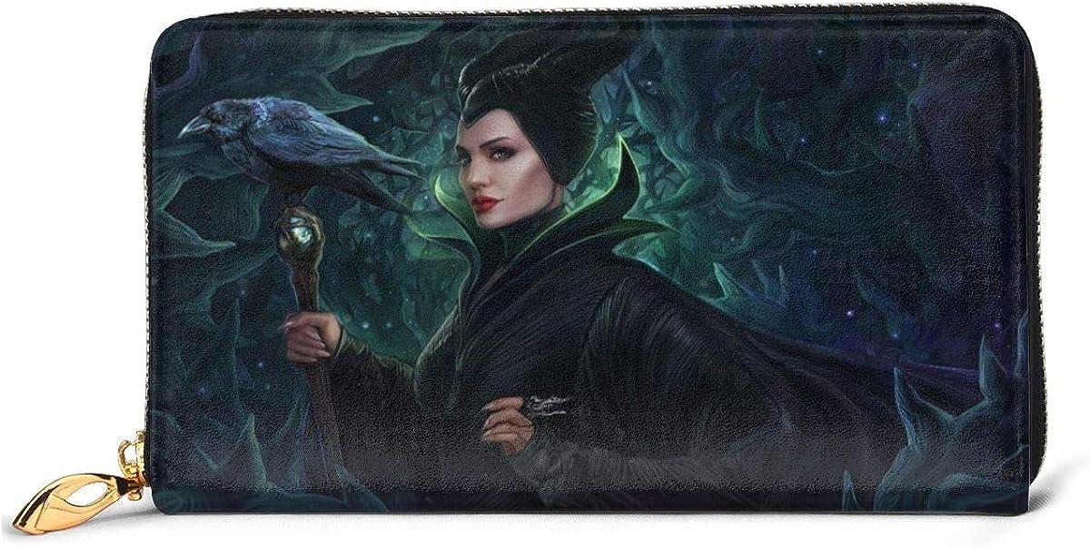 RFID Wallet Maleficent Genuine Leather Wallet Zip Around Card Holder Organizer Clutch Wallet Large Capacity Purse Phone Bag for Men Women