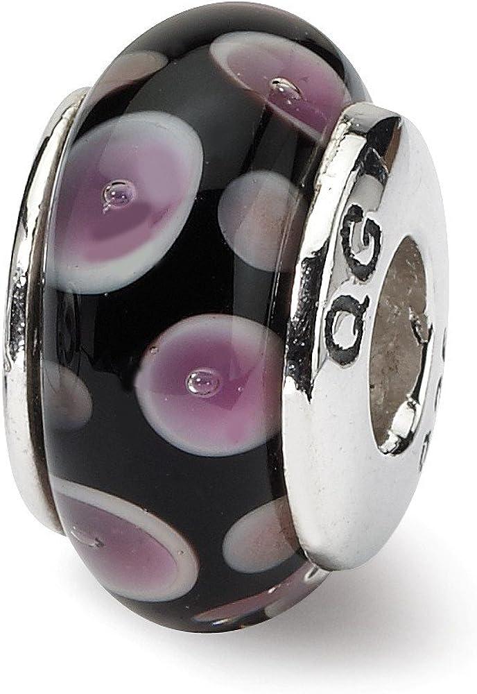Beautiful Sterling Silver Reflections Purple//Black Hand-blown Glass Bead