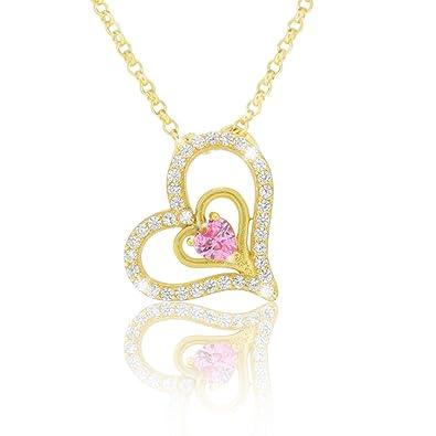 PAVEL´S Damen Herz Kette 42cm 925 Silber 18K Gold plattiert mit ...