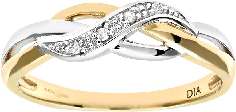 Naava Ladies 9ct Yellow Gold Fancy Diamond Crossover Ring Amazon Co Uk Jewellery