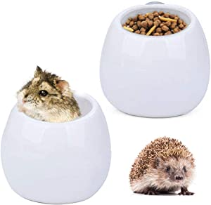 Hamiledyi Small Animal Feeding Cup Ferret Cage Removable Food & Water Dish Hamster Ceramics Food Bowl with Clamp Holder for Birds Gerbils Hedgehog - 2 PCS
