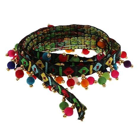 1 Yard Colorful Pom Pom Beads Fringe Tassels Braid Jacquard Ribbon Trim 55mm