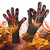 Yuanming 2018 BBQ Grilling Cooking Gloves, 932°F Heat Resistant Kitchen Oven Mitts Gloves, 1 Pair 14'' Long for Extra Forearm Protection Top BBQ Accessories (Black/Red)