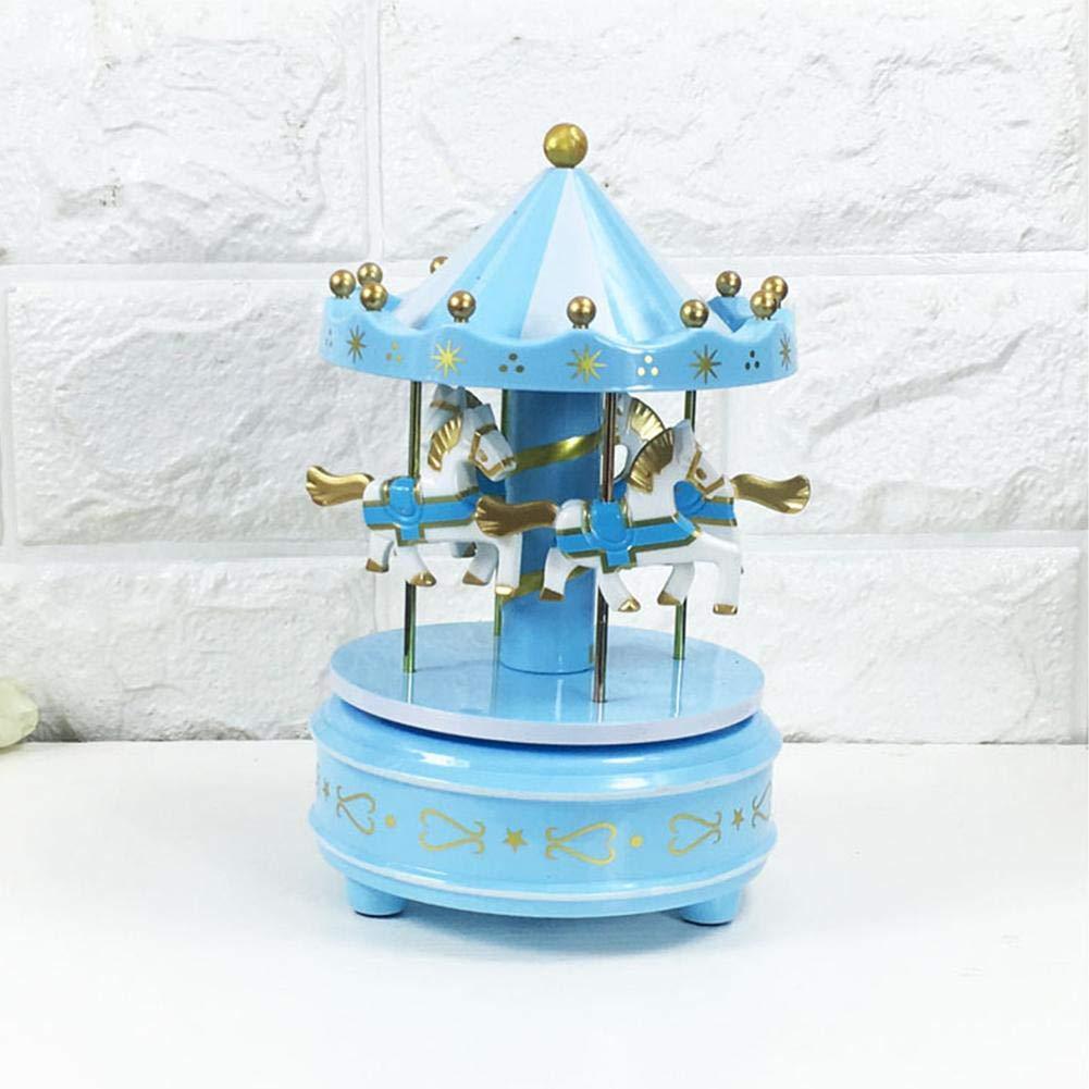 carillon Giocattolo del regalo di compleanno//Natale delle ragazze dei bambini Ornamenti per la decorazione della torta Vintage legno Carousel Music Box per bambini Decorazione di nozze