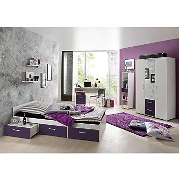 Jugendzimmer Steffi Weiss/Lila 6 Tlg.