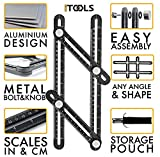 iTools Multi Angle Template Tool - Premium Aluminum Alloy Angle-izer Measuring Ruler Layout Multi-angle Tool with Metal Knobs and Bolts - Perfect for Tiling, Flooring, Brick Laying, Deck Building
