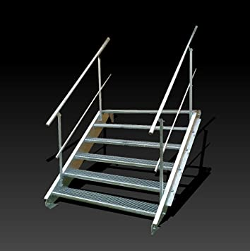 6 niveaux de acier escalier avec garde corps recto versoniveau largeur 150 cm