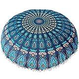 AGUIguo Indian Mandala Pillows Round Bohemian Home Cushion Pillows Cover Case Cushions (H)