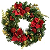 WeRChristmas Decorated Pre-Lit Wreath Illuminated With 20 Warm White Led Lights, 60 Cm - Red/Gold
