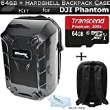 Hardshell Backpack Case for DJI Quadcopter Drones Fits with All DJI Phantom Drone Models DJI Phantom 1 Phantom 2 and Phantom 3 Phantom 3 4K Drones + 64GB High Speed Micro SD Memory Card + More