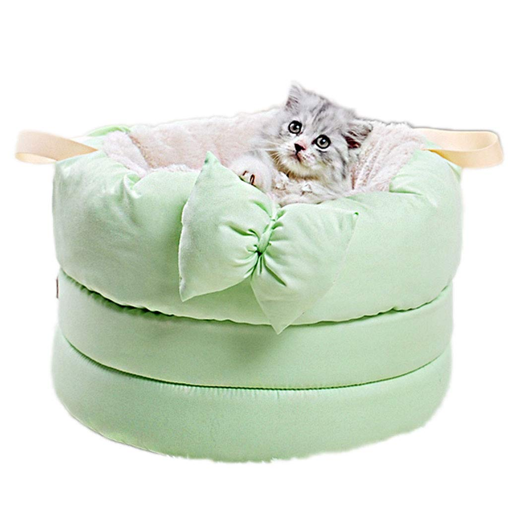 Green Bow Deep Sleep Cat Litter Kennel Cat Litter Cat Bed Soft And Comfortable Non-slip Bite Washable Pet Supplies