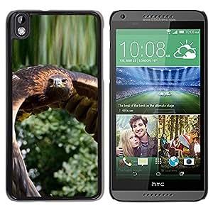 TopCaseStore / la caja del caucho duro de la cubierta de protección de la piel - Flying Hawk Green Nature Bird Feathers Wing - HTC DESIRE 816