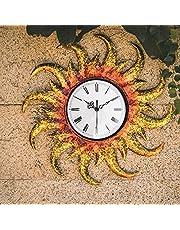 Outdoor Indoor Clock Sun Clock Mumeral Wall Hanging Outdoor Indoor Garden Terrace Living Room Bedroom Waterproof SunClock (Sun)