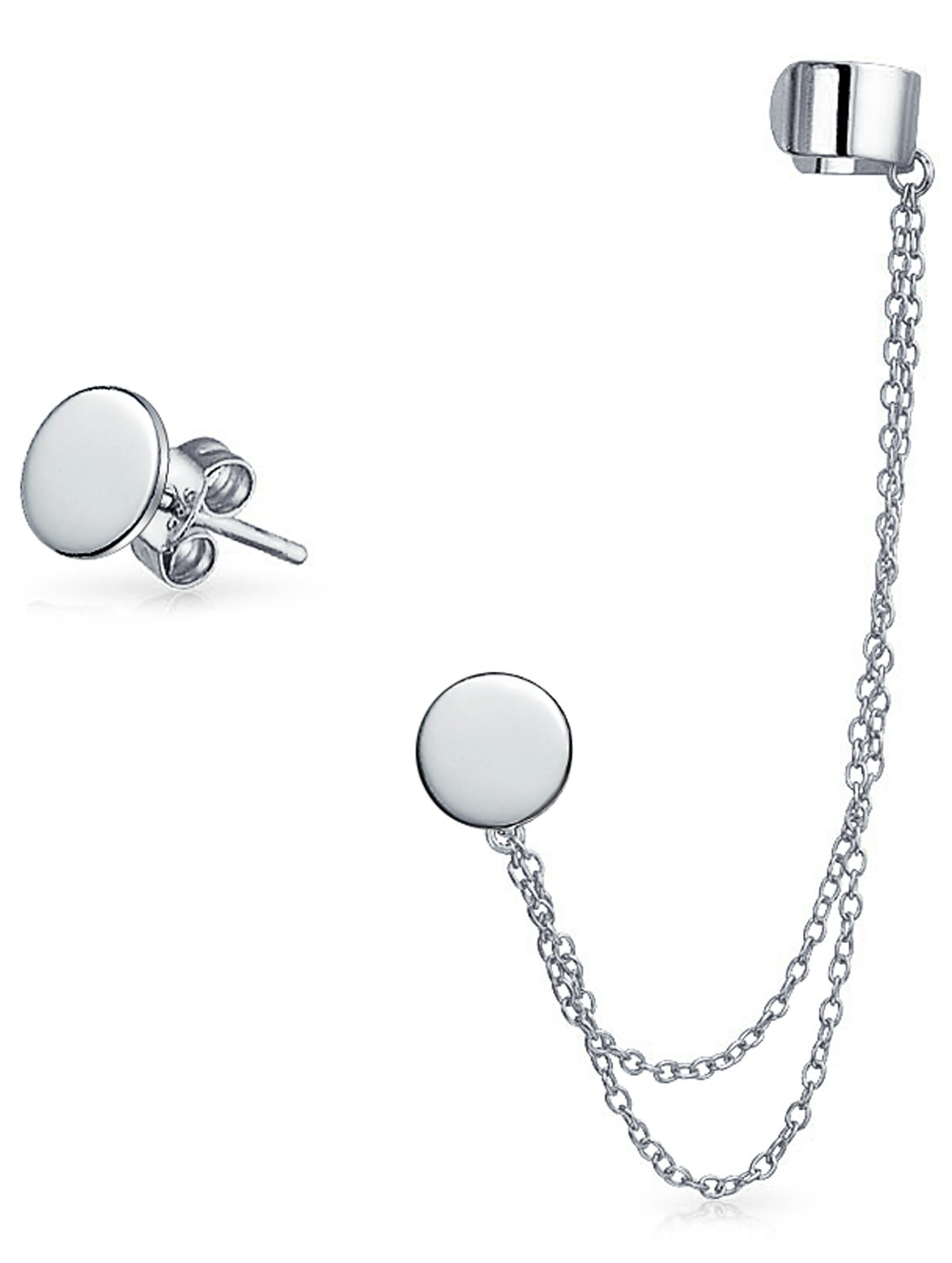 Sterling Silver Round Double Chain Linked Ear Cuff Stud Set