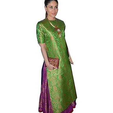 1dadf6be06c3e Karina Kapoor Green Jaquard salwar suite: Amazon.in: Clothing ...