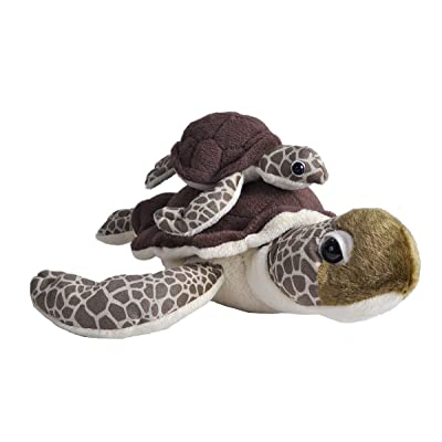 Wild Republic Mom and Baby Sea Turtle, Stuffed Animal, 12 inches, Gift for Kids, Plush Toy, Fill is Spun Recycled Water Bottles: Toys & Games