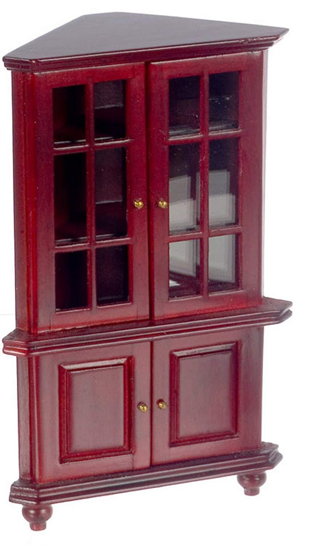 Melody Jane Dollhouse Mahogany Corner China Cabinet Miniature Living Dining Room Furniture