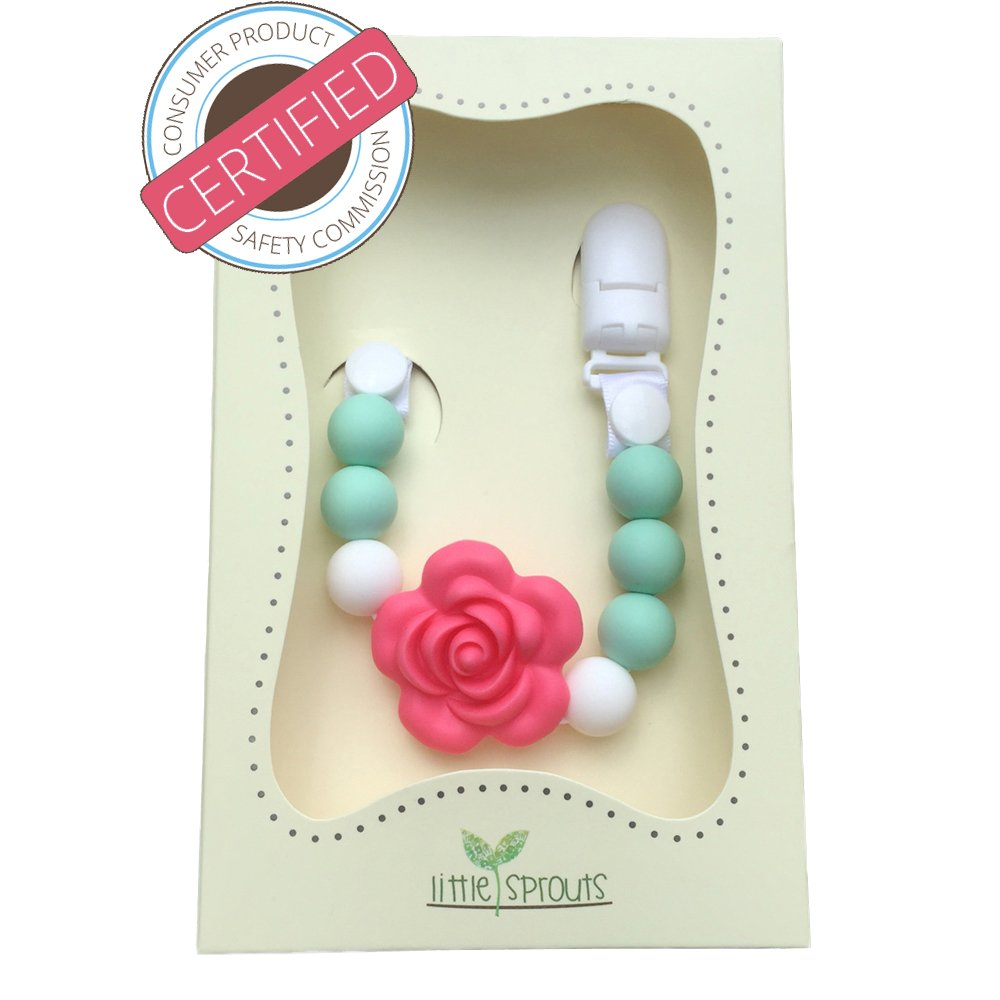 Pacifier Clip - 2 in 1 - Modern and Trendy - Teething Baby Silicone Beads with Unique Shapes - Girl's Binky Holder - Best for Teether Toys, Stuffed Animals, Soothie/MAM, Infant Blankets & Drool Bibs by Little Sprouts