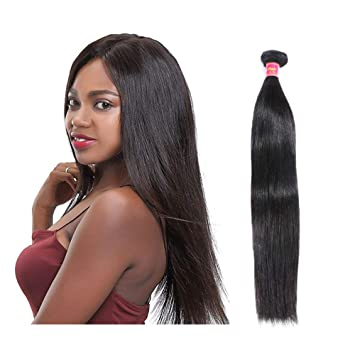 Amazon.com   Ali Queen 5A 1 Bundles Straight Brazilian Remy Hair Weave 100%  Human Hair Extensions Natural Black Color 100g (26 inch 0fdbf1506