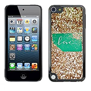 PC/Aluminum Funda Carcasa protectora para Apple iPod Touch 5 Bling Green Text Gold Glitter Shiny / JUSTGO PHONE PROTECTOR