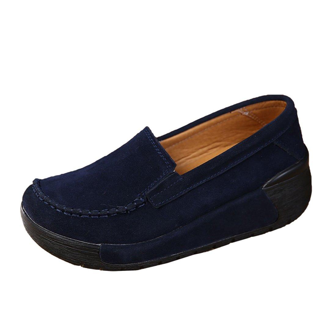 Z.SUO Mocassins Femmes Z.SUO Suède Casuel Femmes Confort Chaussures 19993 Loafers Bleu.4 3aab8f1 - reprogrammed.space