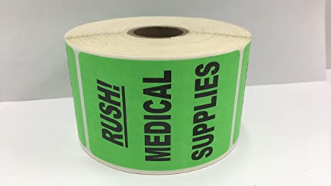 Amazon com : 500 Labels Bright Green RUSH - Medical Supplies Medical