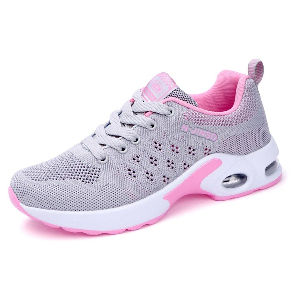 Zapatos de Mujer Malla Transpirable Primavera Otoño Confort Zapatillas de Deporte Creepers For Purple Negro, Azul, Gris Jogging Fitness Movimiento Mesh (Color : Gris, Tamaño : 40) 40 Gris