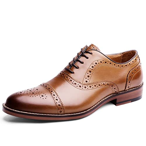 832123ff33 DESAI Scarpe Stringate Eleganti Oxford Brogue Uomo Nero/Marrone