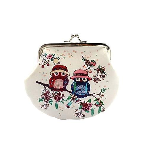 ZARU Señora de las mujeres de la vendimia búho Pequeño Monedero cerrojo cartera de mano bolsa de tres búhos