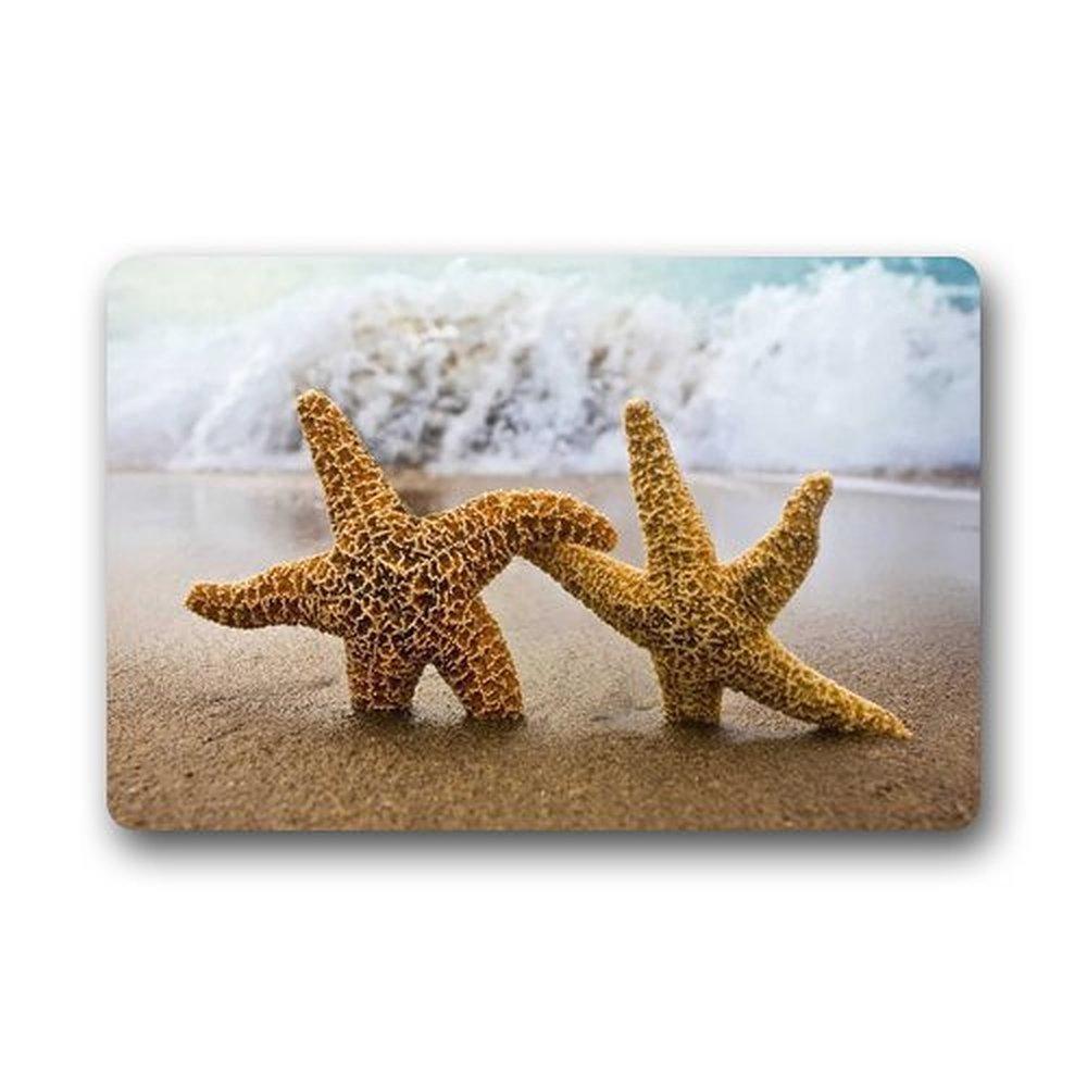 Heymat Custom Sea Star Beach Ocean Sea Hawaiian Kitchen Rugs Cover Non-Slip Outdoor Indoor Bathroom Kitchen Decor Rug Mat