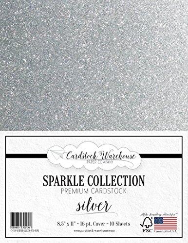 MirriSparkle Silver Glitter Cardstock Paper 8.5