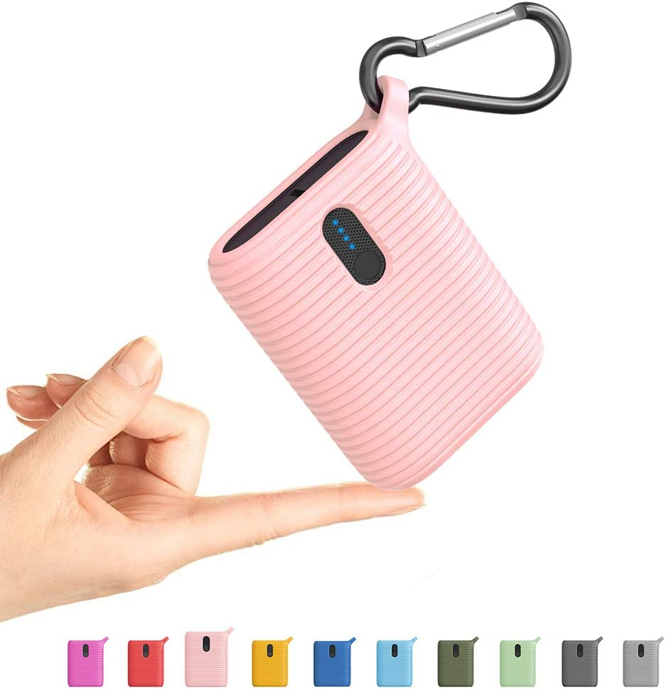 Outxe Mini Portable Charger 10000mAh, Power Bank with Dual Output Ports, Ultra Compact Lightest USB-C External Battery for iPhone, Samsung and More (Petal Pink)