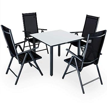 Casaria Salon de Jardin Aluminium Anthracite »Bern« 1 Table 4 ...