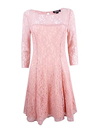 c106fa2083 SL Fashions Women s Sequined Lace Fit   Flare Dress at Amazon Women s  Clothing store