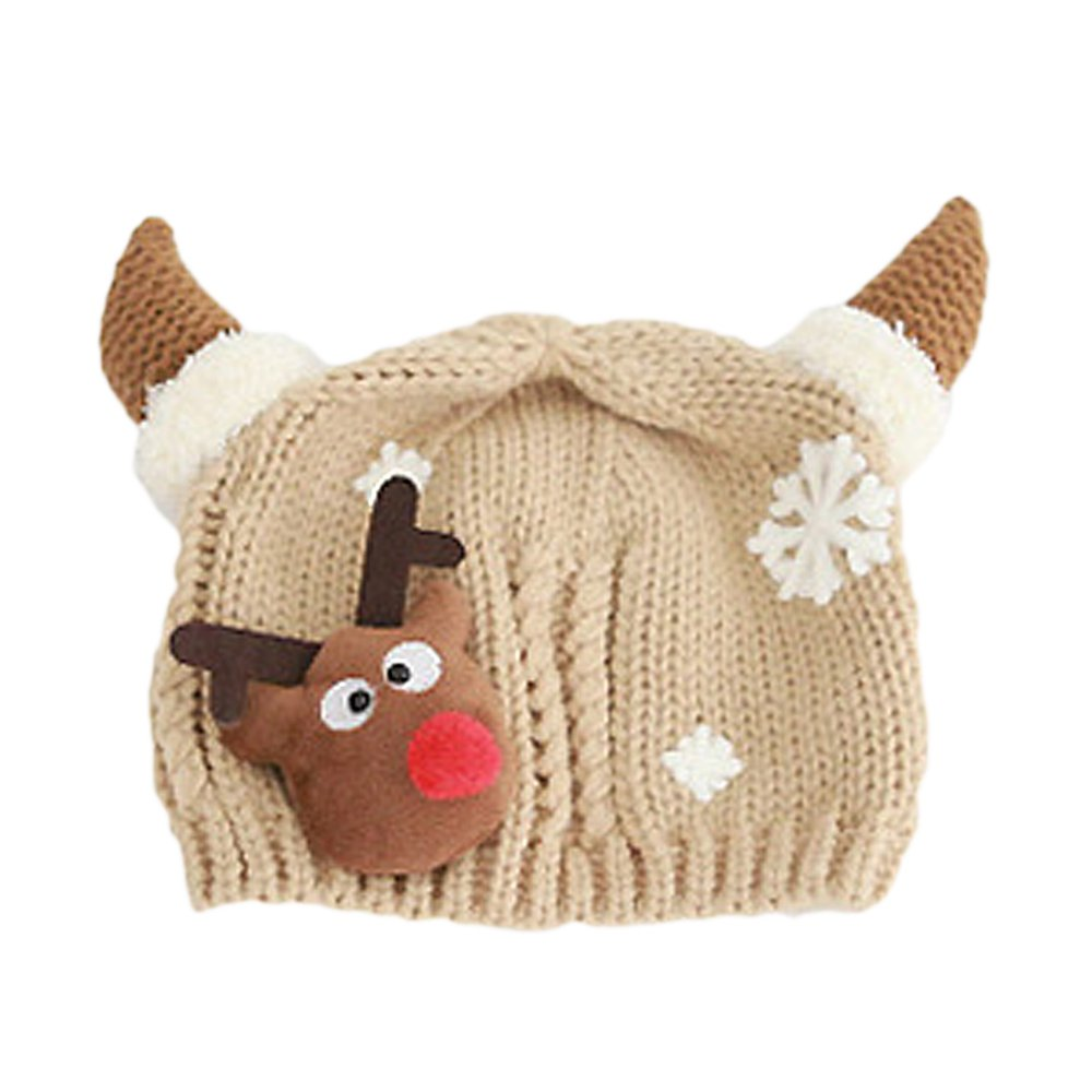 Amazon.com: Unisex Cute Children Kids Baby Christmas Santa Elk Reindeer Decoration Knitted Caps Hat Khaki: Health & Personal Care