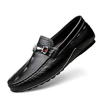 HhGold Mocasines Casuales, Zapatos de conducción de Moda de Cuero Planos, Mocasines y Pantuflas