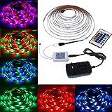 Rovtop Tiras de LED Iluminación 3528 RGB 5M 300 Leds, Impermeable, pegan en la Ventana, Control de 24 Teclas para la Decoración detrás de la Televisión , de la Cocina y Bar - la Energía 12V 2A[Clase de eficiencia energética A++]