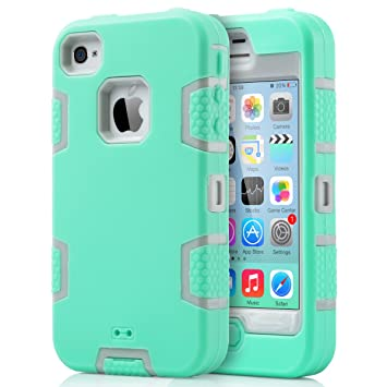 ULAK Carcasa iPhone 4S Case iPhone 4 Caso Funda Choque Hñbrida Prueba Protector de Silicona para el iPhone 4S de Apple iPhone 4 con Protector de ...