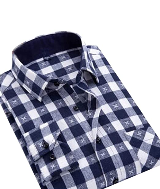 Hajotrawa Mens Slim Classic Cotton Top Button-Down Long-Sleeve Plaid Shirts