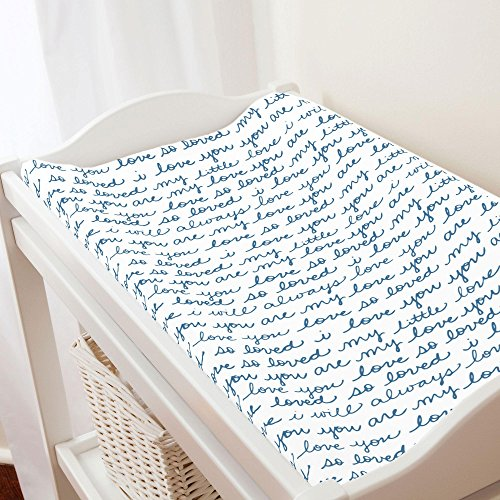 - Carousel Designs Denim Love Words Changing Pad Cover - Organic 100% Cotton Change Pad Cover - Made in The USA