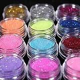 TaoNaisi 12 colores uñas arte polvo purpurina polvo DIY decoración UV acrílico gel consejos