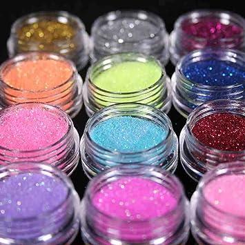 TaoNaisi 12 colores uñas arte polvo purpurina polvo DIY decoración UV acrílico gel consejos: Amazon.es: Hogar
