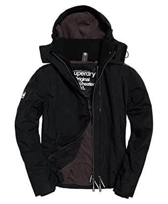 10469bf5c9c8 Superdry Mens Pop Zip Hooded Arctic SD-Windcheater Black Rock - Black -   Amazon.co.uk  Clothing