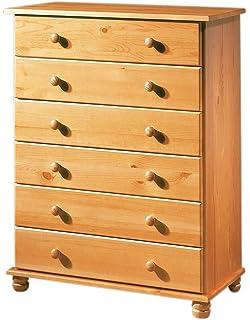 Non 10220534 - Mesilla de Madera de Pino con 5 cajones y Patas Redondeadas, Color marrón: Amazon.es: Hogar